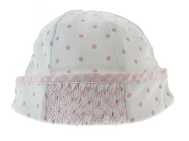 White Pink Smocked Take Home Hat Gingham Dots