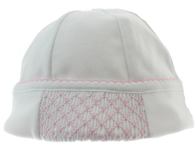 Newborn Girls Take Home Hat White and Pink