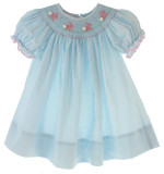 Girls Blue Smocked Easter Dress Pink Bunnies
