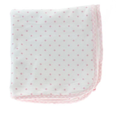 Magnolia Baby Pink Gingham Dots Blanket