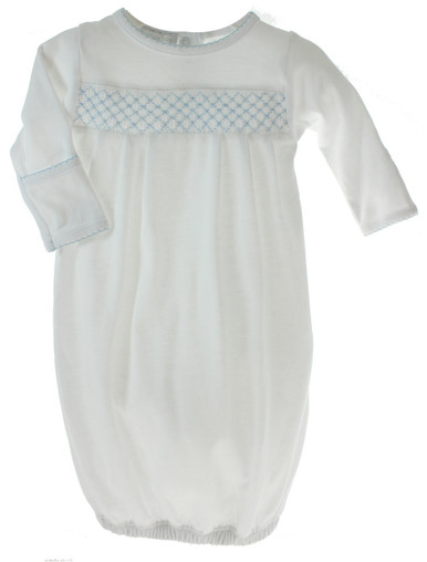 Magnolia Baby Boys White Gown Blue Smocking