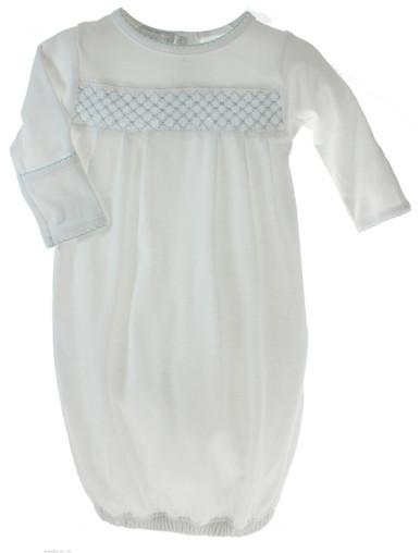 Magnolia Baby Boys White Gown Blue Smocking