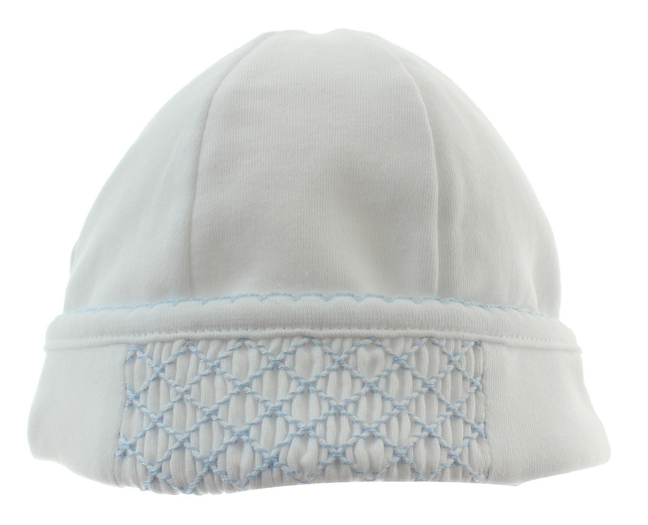 42082b431c4 Magnolia Baby boys white and blue smocked beanie hat. Click to enlarge