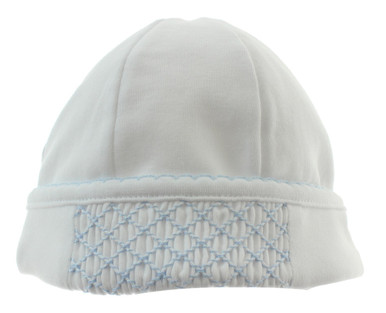 Magnolia Baby boys white and blue smocked beanie hat