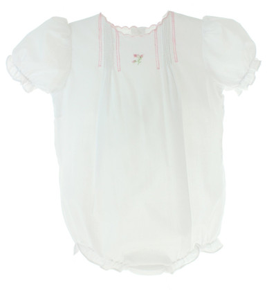 Girls White Batiste Bubble Outfit