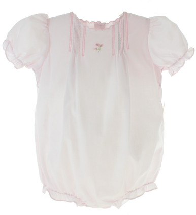 Infant Girls Pink Dressy Bubble Outfit Scalloped Trim