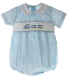 Baby Boys Smocked Train Bubble Outfit petit Bebe