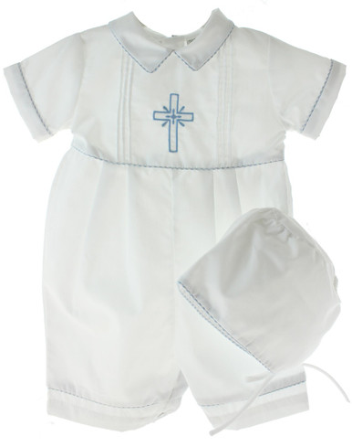 Boys Christening Romper with Blue Cross