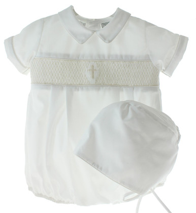 Boys White Christening Bubble Outfit Ivory Smocking