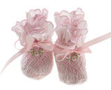 Baby Girls Pink Smocked booties Sarah Louise