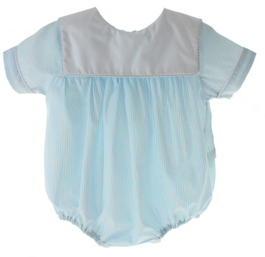 Baby Boys Blue Monogrammed Bubble Outfit Square Collar
