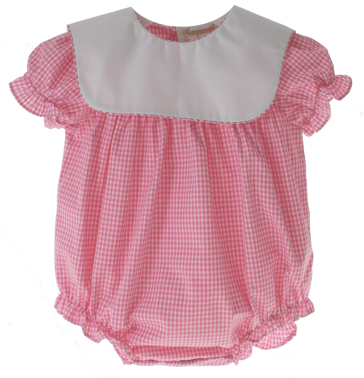 b9e0a87cd1d5 Baby Girls Pink Gingham Monogrammed bubble Outfit. See 1 more picture