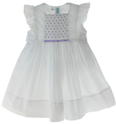 Feltman White Lavender Smocked Dress
