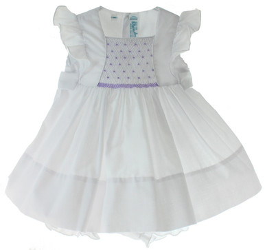 Feltman Brothers White Dress Lavender Smocking