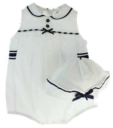 Sarah Louise Girls Sailor Bubble Outfit Navy White
