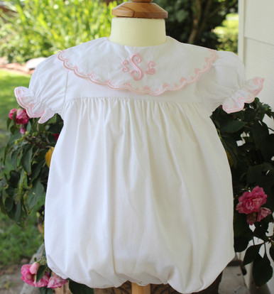 Girls White Pink Monogrammed Take Home Outfit