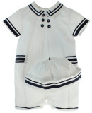 Sarah Louise Boys Sailor Romper Outfit with Hat