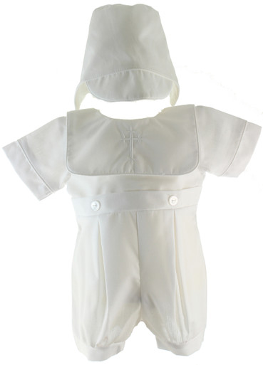 Boys Christening Romper with Cross Collar
