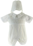 Boys White Smocked Baptism romper with hat
