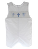 Boys White Christening Outfit Blue Cross Smocking