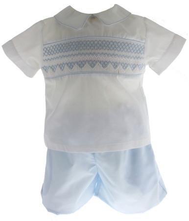 Rosalina Boys Blue White Smocked Short Set