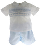 Rosalina Boys Blue White Smocked Short Set
