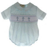 Boys Blue Smocked Christening Bubble with Crosses
