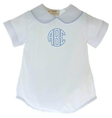 Boys White Bubble Outfit Circle Monogram