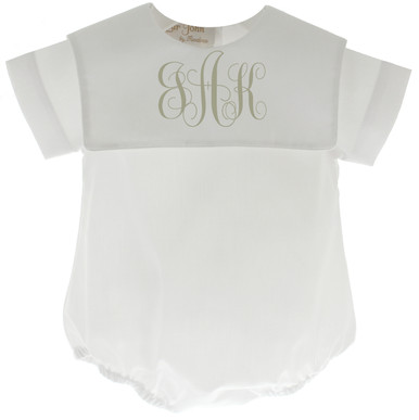 Boys White Christening Bubble Outfit Monogrammed Collar