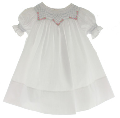 Baby Girls White Smocked Daygown Blue Smocking Pink Flowers
