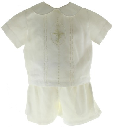 Boys Ivory Christening Outfit Linen Short Set