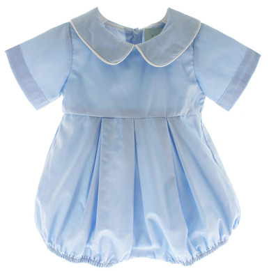 Boys Blue Monogrammed Bubble outfit