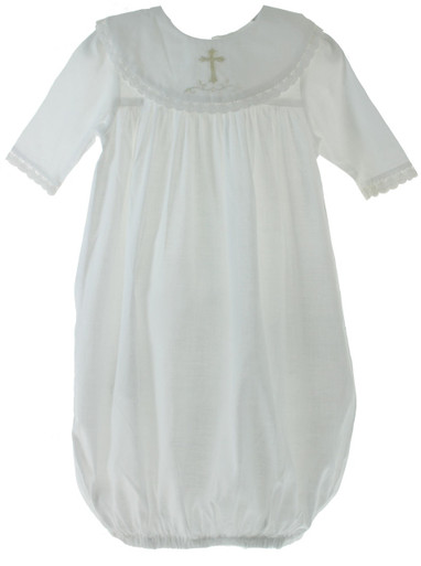 Baby Girls Christening gown with Embroidered Cross collar