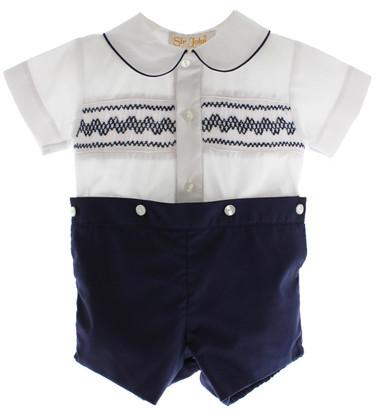 Boys Navy Smocked Dressy Short Set