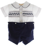 Boys Navy Smocked Dressy Short Set
