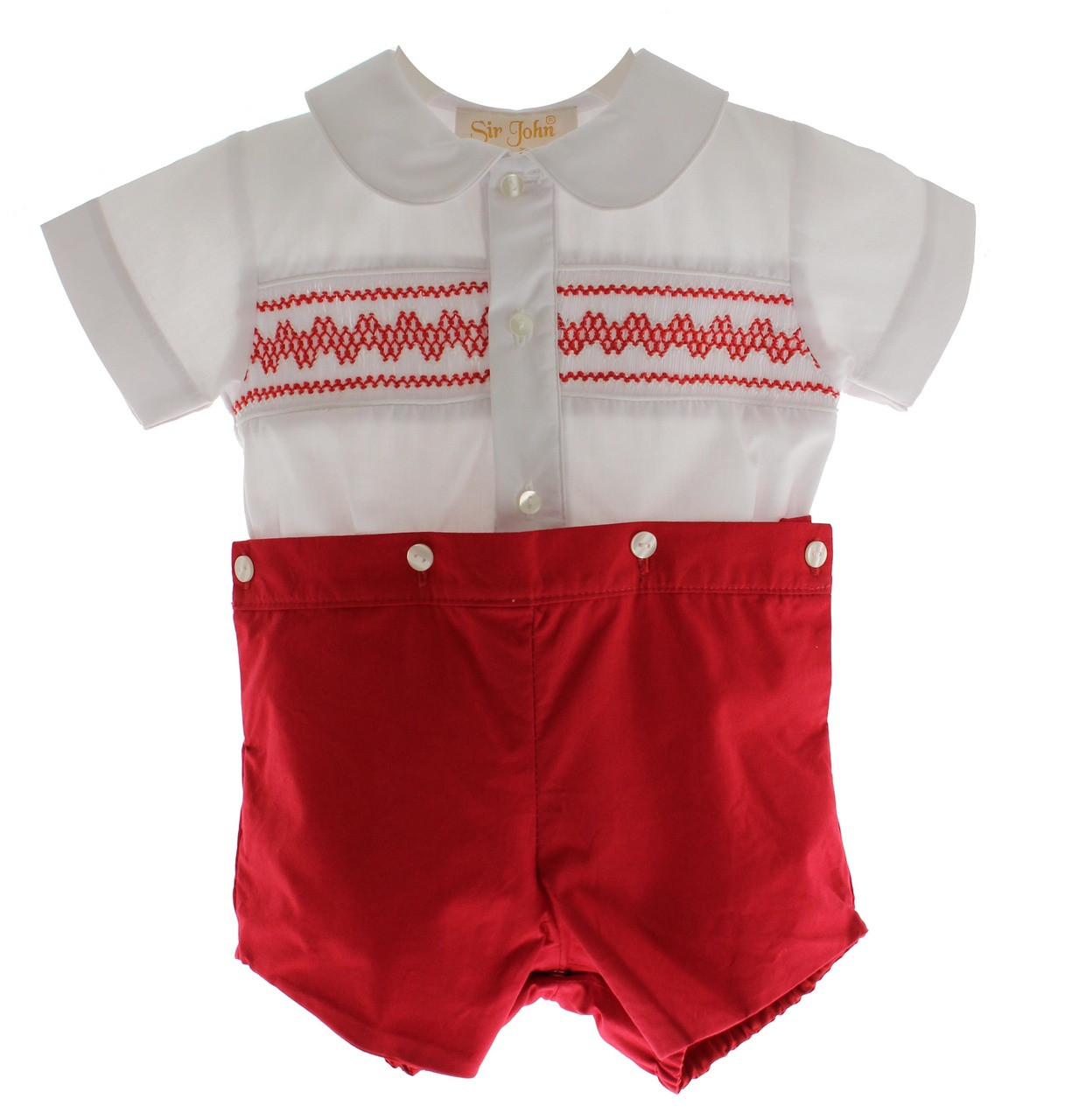 9737c4dab Boys Red White Smocked Bobbie Suit Christmas Short Set Hiccups · Baby Boy  Smocked Christmas Outfits
