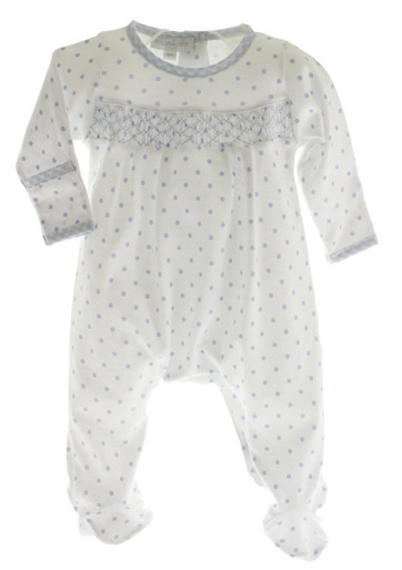 Infant Boys Blue Smocked Footed Sleeper Blue Gingham Dots