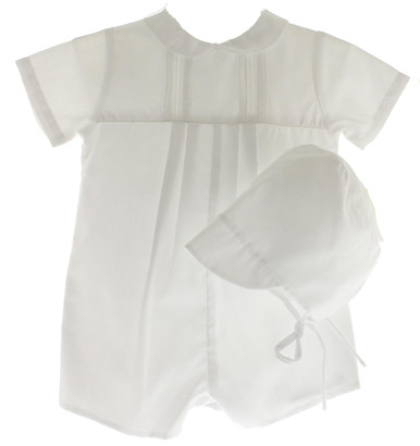 Newborn Boys White Take Home Romper Outfit with Hat