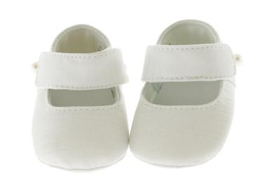 Girls White Silk Mary Jane Shoe Personalized