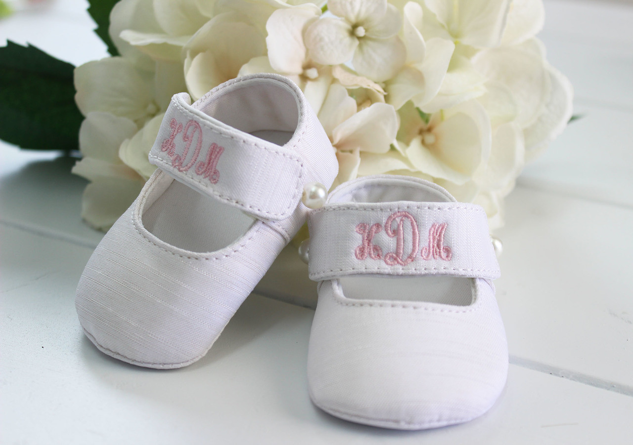 3b9fc33f84d2 Monogrammed Silk Shoes Baby Girl. See 2 more pictures