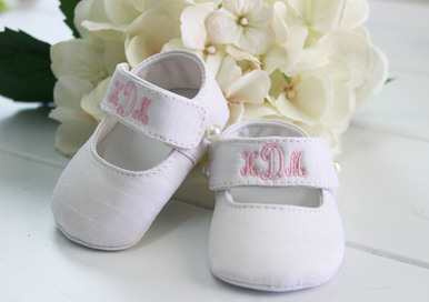 Baby Girls Personalized Christening Shoes Silk
