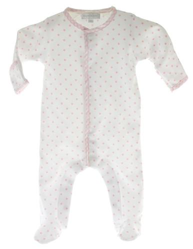 Baby Girls White Pink Polka Dot Footie