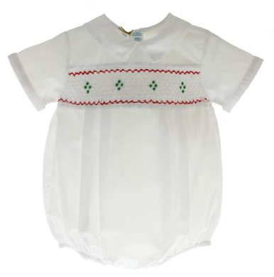 Boys White Smocked Christmas bubble Feltman Brothers