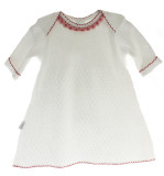 Baby Girls White Knitted Dress Red Trim