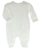 White Unisex Layette Romper Knitted