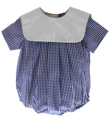 Boys Blue Gingham Bubble Outfit Square Monogram Collar