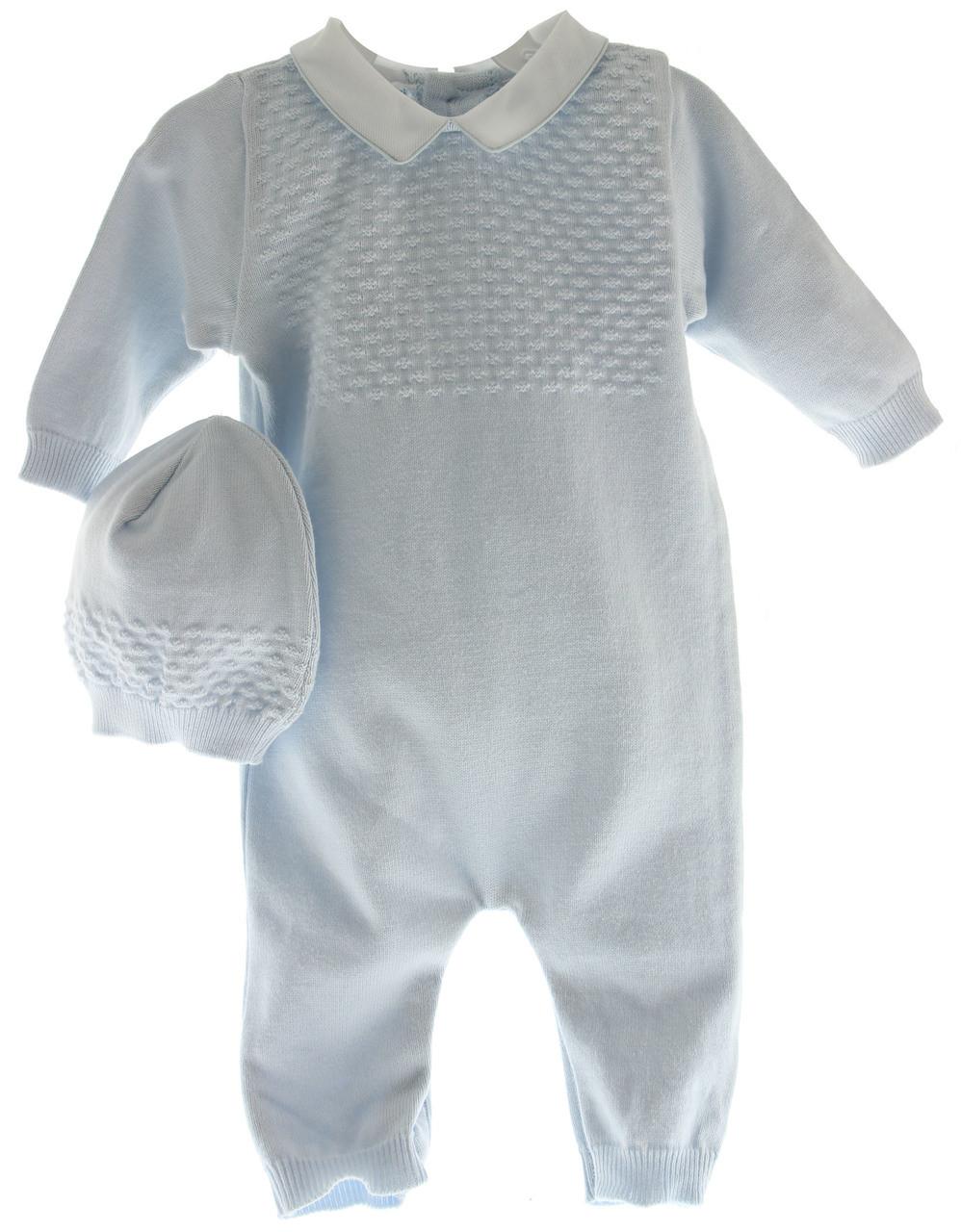 d35c4bb5b5e5 Infant Boys Blue Knit Long Romper with Hat Layette Set