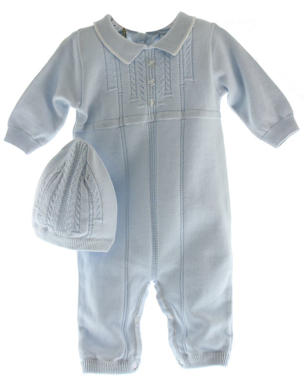 416322f1e1e0 Newborn Boys Blue Knitted Long Romper Feltman 6006. Click to enlarge