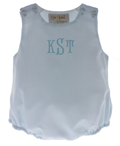 Infant Boys Light Blue Monogrammed Bubble Outfit