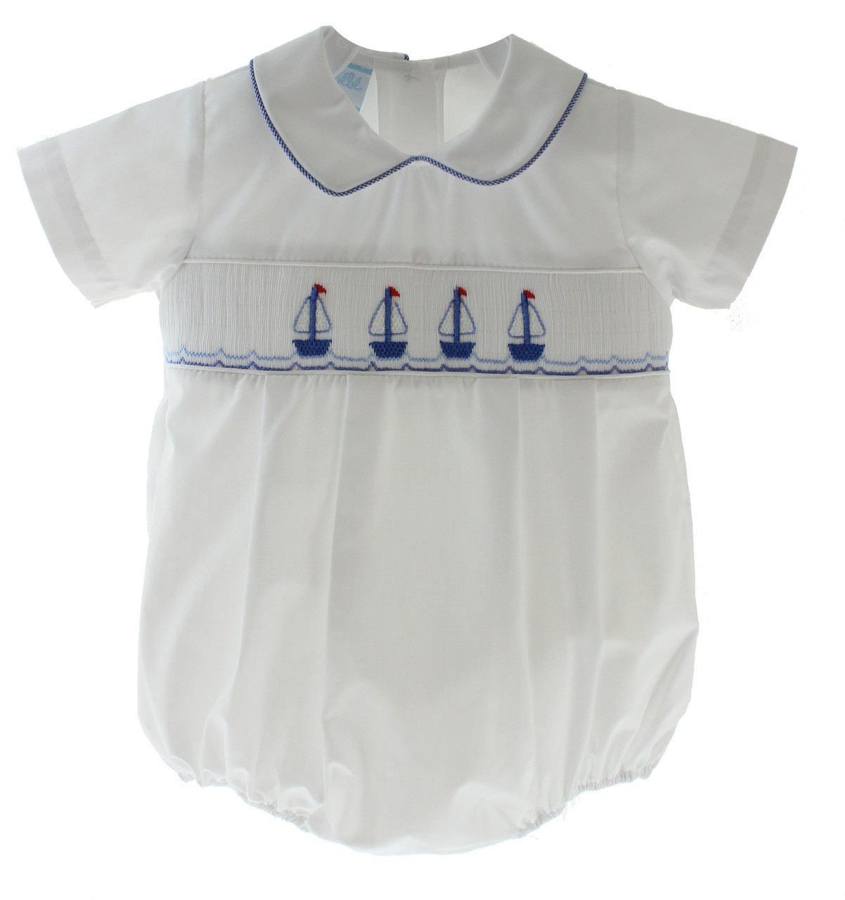 4b5ba84b6d7d Baby Boys White Smocked Sailboats Bubble Outfit - Hiccups Childrens ...